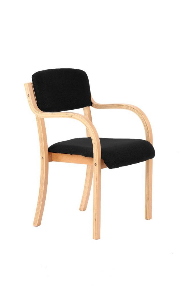 Madrid Wooden Frame Visitor Chair Beech Frame With Arms Blue or Black Fabric available